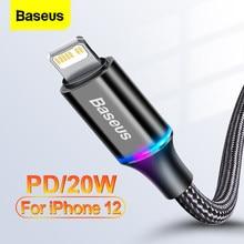 Baseus PD 20W USB-C Cable para iPhone 12 Pro 11 XS Max X 18W de carga rápida Cable de datos de Cable para iPad aire de tipo C with Cable de iluminación