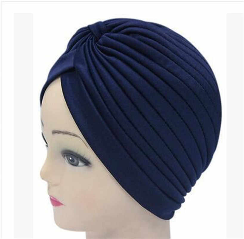 1 個バンダナ女性ストレッチターバンイスラム教徒の帽子ヘッドバンドワープ女性化学ヒジャーブため結び目インドキャップ大人のヘッドラップ女性