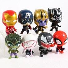 Thanos Black Panther Spiderman Spider-Gwen Thanos Hulk Captain America Iron Man Venom Mini PVC Figures Toys 8pcs/set