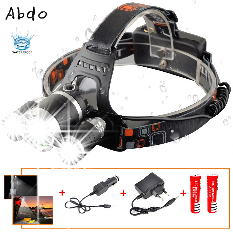 9000Lm Led Headlight Headlamp T6+2R5 Rechargeable Flashlight Head Lamp Light Torch Linterna Led+2*18650 Battery+Car Charger