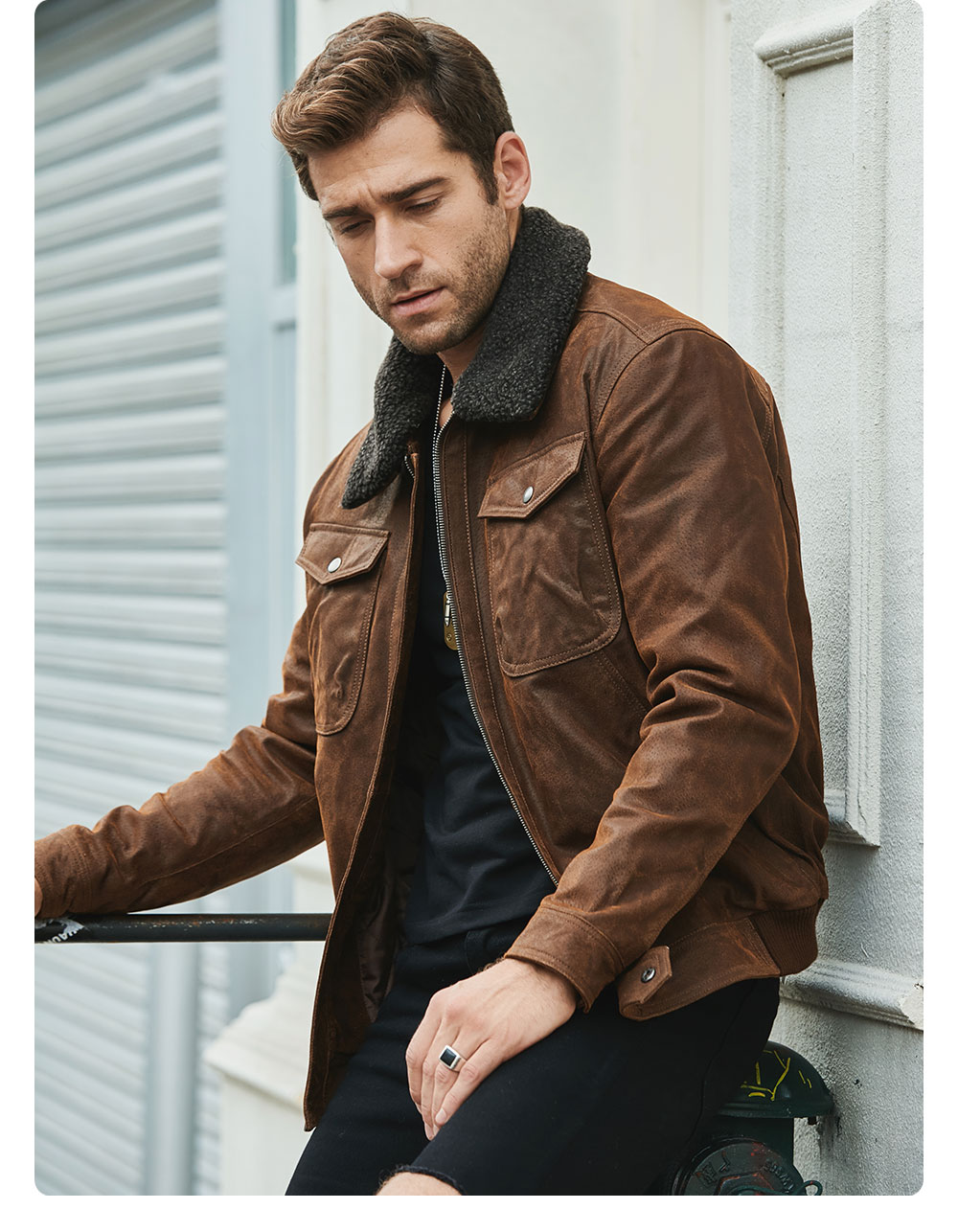H7f1ef84b7f724263a91b1459d55f66c6Q FLAVOR Men's Real Leather Jacket Genuine Leather jacket with faux fur collar male Motorcycle warm coat Genuine Leather Jacket