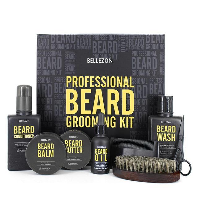 Blue ZOO 8Pcs/set Men Beard Care Kit Beard Shaving Cream Aftershave Cleaning Care Nourishing Shaping Male Beard Care Set 4
