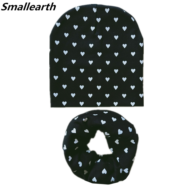 New Children Hat Scarf Sets Autumn Winter Star Love Print Girl Boy Caps Baby Kids Cotton Hat Scarf Set Child Hat Collar Baby Cap