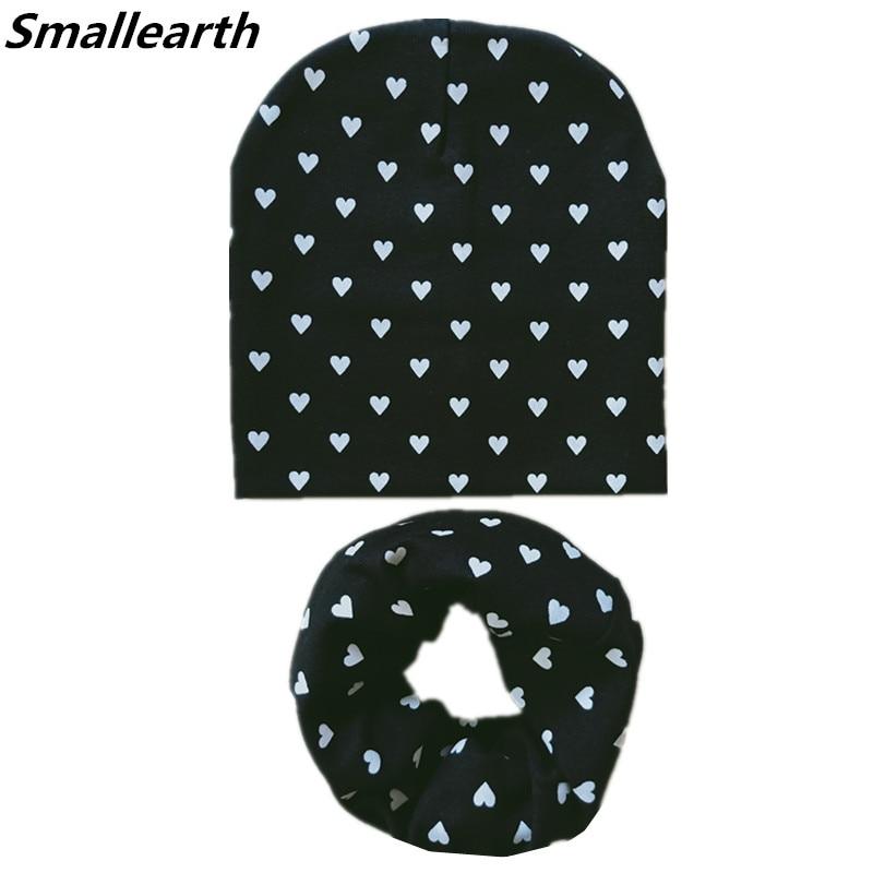 New Children Hat Scarf Sets Autumn Winter Star Love Print Girl Boy Caps Baby Kids Cotton Hat Scarf Set Child Hat Collar Baby Cap