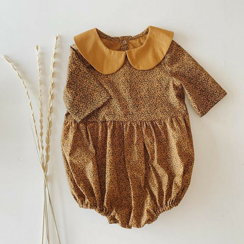 0-18M Vintage Newborn Infant Baby Girls Romper Peter Pan Collar Long Sleeve Jumpsuit Spring Autumn Baby Girl Costumes