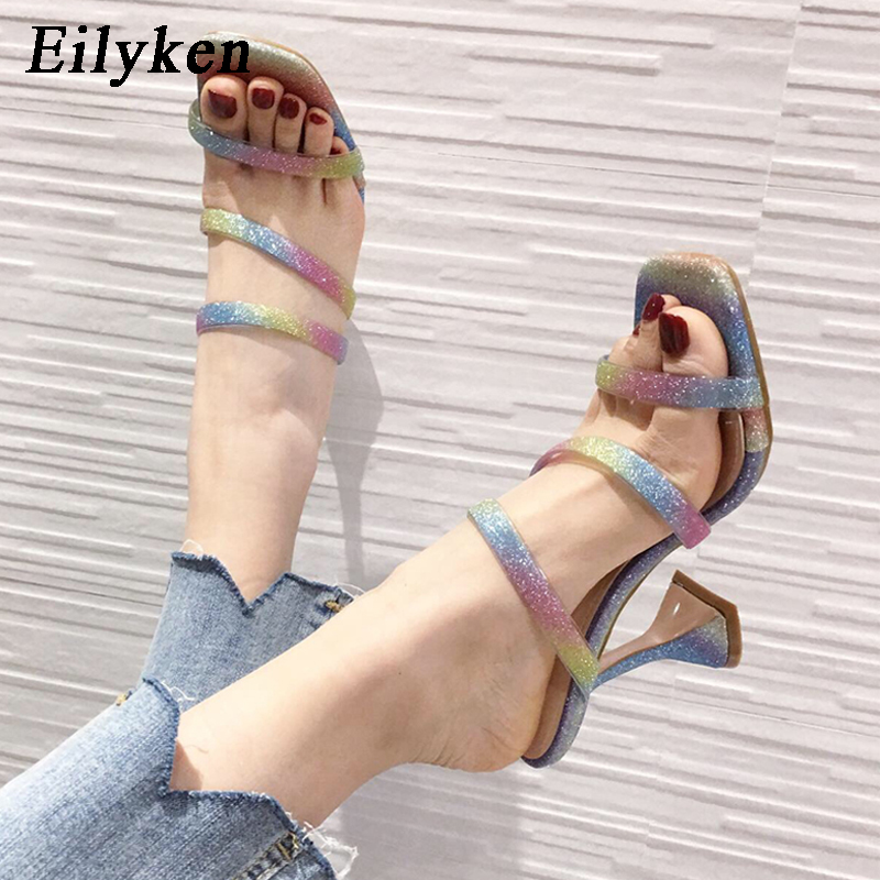 Eilyken Glitter Bling PVC Jelly Shoes Fashion Design Strange Cup Heels Womens Slippers Classic Square Toe Wedding Sandals Mules