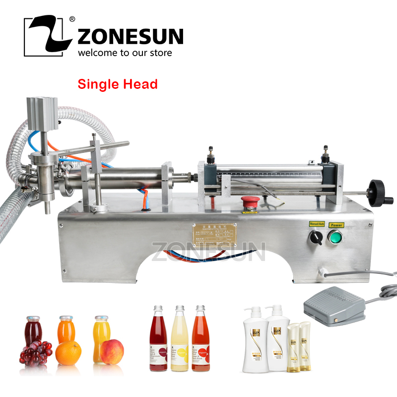 ZONESUN Pneumatic Piston Liquid Filler Shampoo Water Wine Milk Juice Vinegar Oil Detergent Soap Hand Sanitizer Filling Machine