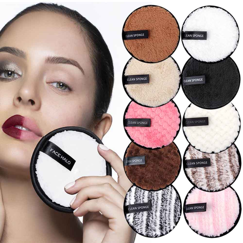 Reusable Makeup Remover Pads Microfiber Puff Washable Cotton Pads Face Towel Makeup Wipes Face Skin Care Nail Art Cleansing Puff