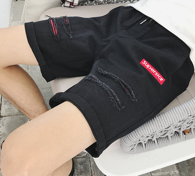 Hong Kong Style Shorts Men's Summer Loose Harajuku Wind Ulzzang Korean-style Trend Men's Fashion Students Black And White With P