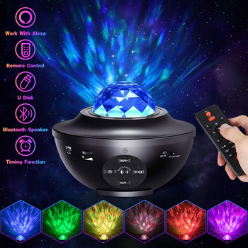 USB LED Star Night Light Music Starry Water Wave Sound-Activated LED Projector Light Bluetooth Projector Galaxy Projector Light usb night projector ocean wave projector music starry sky projector kids room decoration night lamp bluetooth sound activated