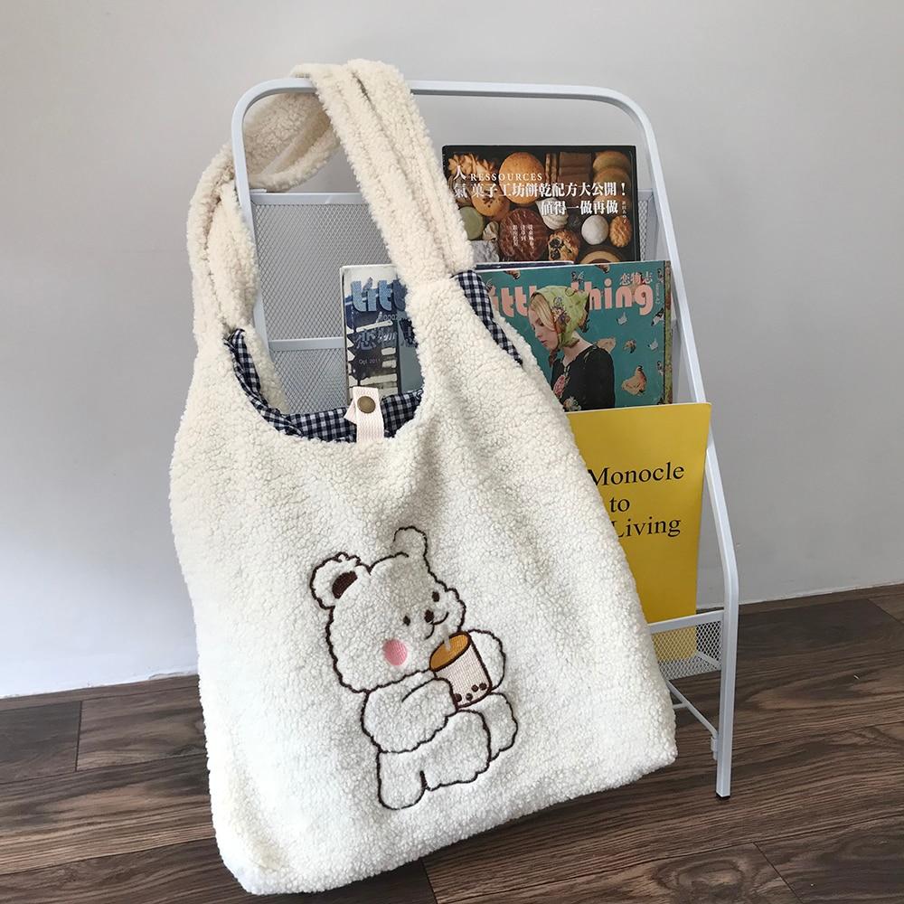 Женская Холщовая Сумка на плечо, теплая плюшевая тканевая сумочка-тоут из мягкого хлопка, вместительный саквояж с вышивкой в виде медведя д...