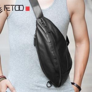 Image 1 - AETOO Mens chest bag leather Messenger bag casual mens top layer leather shoulder bag chest bag