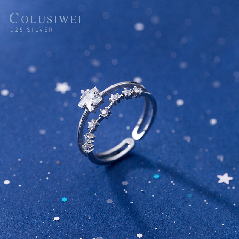 Colusiwei Silver 925 Jewelry Shiny Star Open Finger Rings For Women Clear CZ Real Sterling Silver Fine Jewelry Girl Gifts 2020