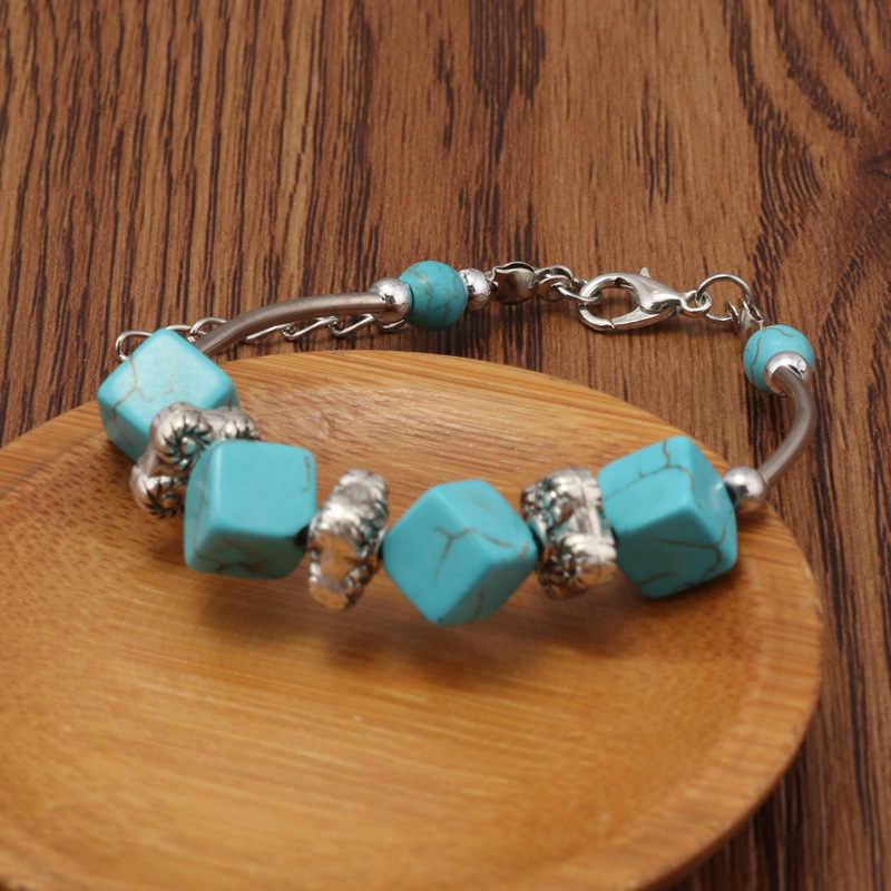 ELIsfashion populares blocos de turquesas bohemia pulseira de Flora Liga de Zinco pulseira do sexo feminino jóias de Moda Para As Mulheres