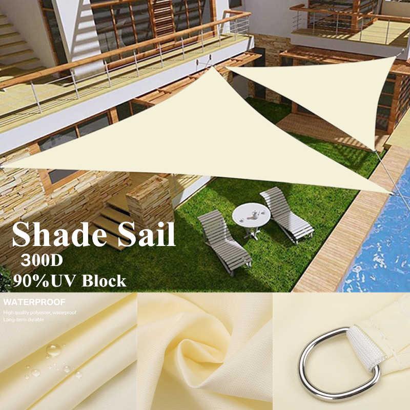 300D oxford bej sağ üçgen vizör güneş yelken havuz kapağı güneş koruyucu tenteler açık su geçirmez yelken gölge bez gazebo gölgelik
