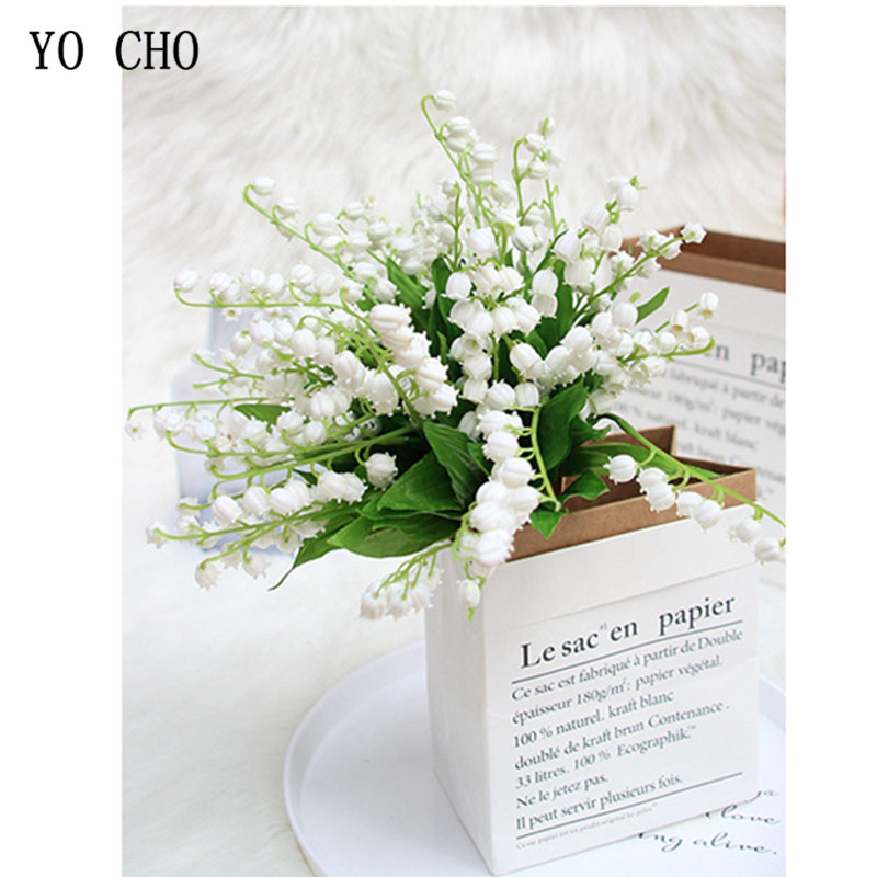 1Pcs Plastic Valley Lily Wedding Flowers Holder Artificial Flores Lily Bridal Bouquet Decor Home Vase Table Accessories Floral