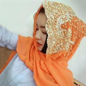 Image 5 - סיטונאי מחיר hijabs המוסלמי האסלאמי צעיף צעיפי לאישה ארוך Underscarf חיג אב מוצק צבע עם חרוז תפילת Turbante