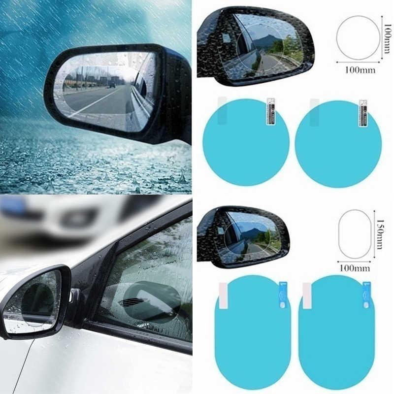 2 ชิ้น/เซ็ตกันฝนรถยนต์กระจกหน้าต่างกระจกฟิล์มเมมเบรนAnti FOG Anti-Glareสติกเกอร์กันน้ำขับรถความปลอดภัย