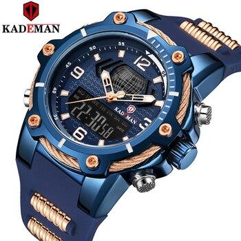 Reloj de pulsera de cuarzo Digital para hombre de KADEMAN, reloj deportivo militar de marca superior, reloj de pulsera informal de goma, reloj Masculino