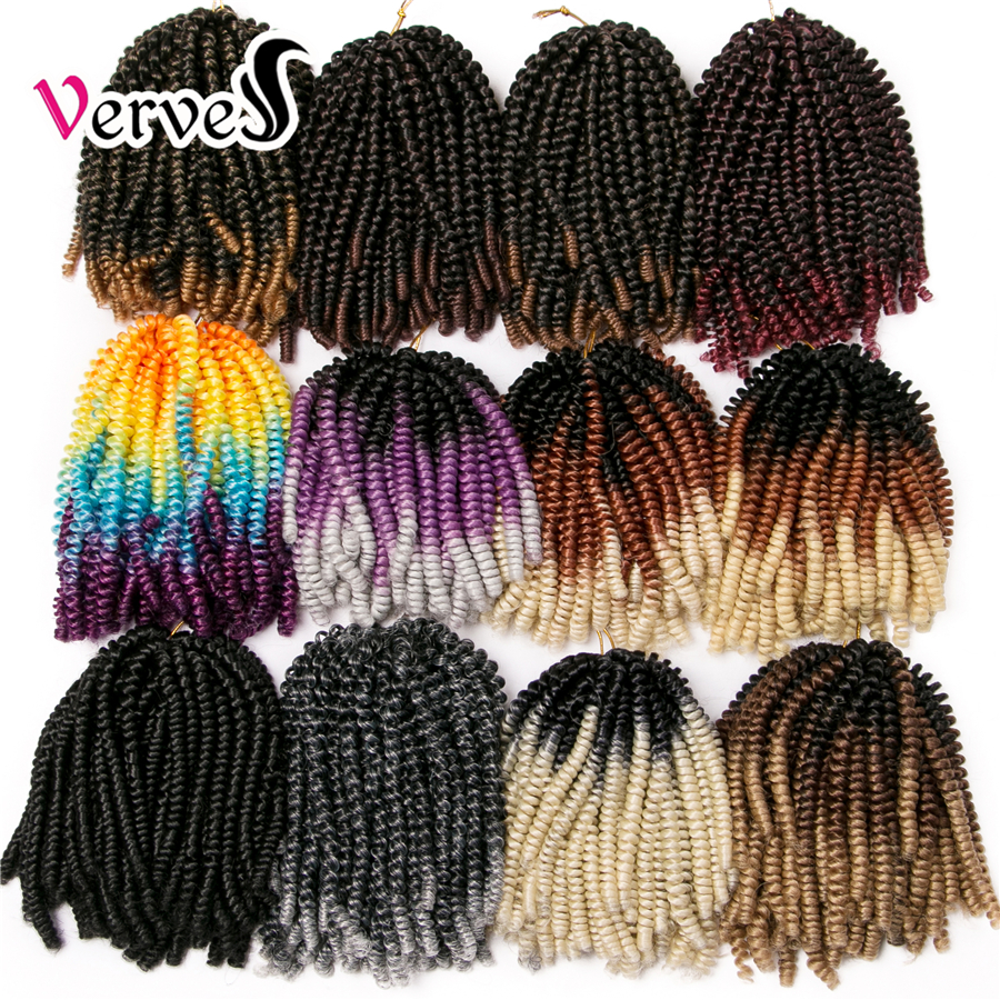VERVES Crochet Braid Hair Extension 8 Inch,30 Strands/pack Synthetic Spring Twist Ombre Braiding Hair Colorful Braids Extensions