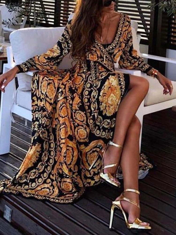 2020 New Style Fashion Elegant Women Sexy Boat Neck Glitter Deep V Neck Print Party Dress Formal Long Dress Sexy Clubwear 2