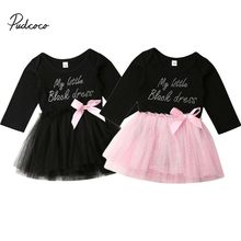 2019 Baby Spring Autumn Clothing Newborn Baby Girls Bedding Letter Princess Party Dress Pink/Black Chiffon Tutu Dresses 0-18M(China)