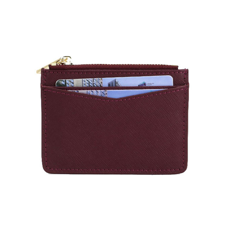 Monogrammed Customied Letters Women Saffiano Leather Zip Card Holder Coin Purse Card Case For Ladies