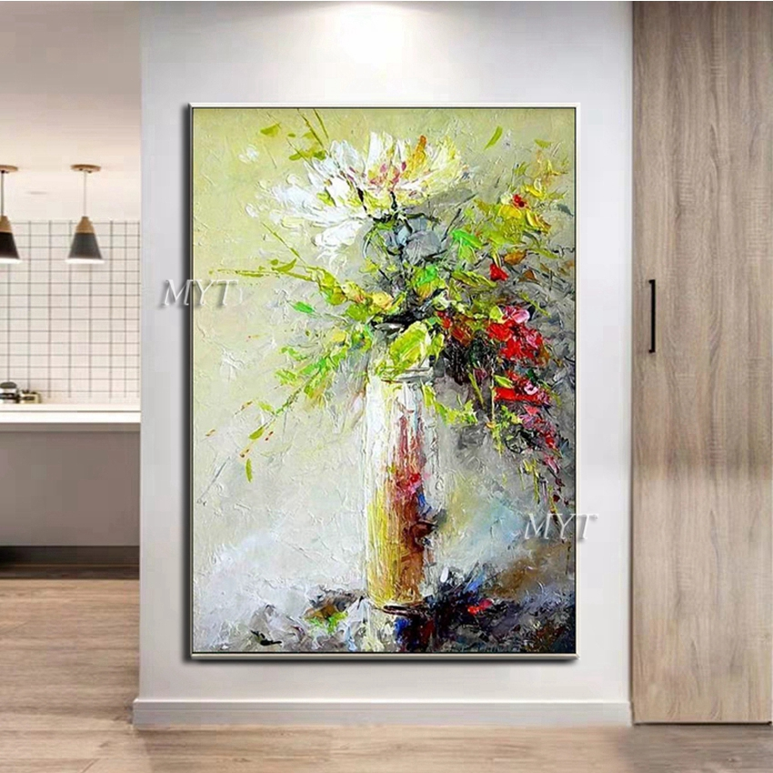 Image 4 - Texture Thick Vase Flower Handmade Oil Painting Canvas Wall Art Oil Paintings Canvas Knife Art Home Decoration Wall PicturesPainting & Calligraphy   -