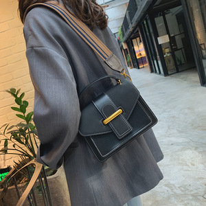 Image 2 - New Women Crossbody Bag PU Leather Waterproof Simple Female Shoulder Bag Youth Lady Work Bag Contrast Color With Interval