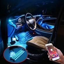 Niscarda araba atmosfer işıklar EL Neon tel şerit RGB çoklu modları App ses kontrolü oto İç dekoratif ortam lambası