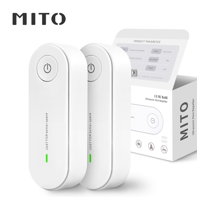 MITO 2 Pack Ultrasonic Insect Repellent Electronic Mosquito Repellent Mice Spider Cockroach Insecticide Pest Control