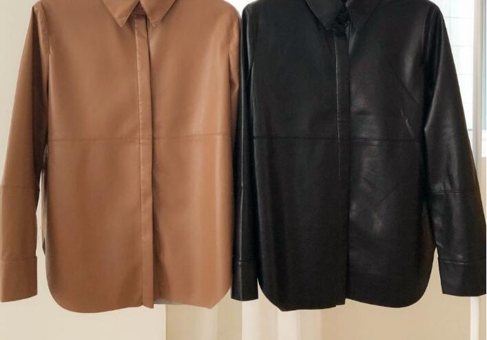 Two Color 2019 New Women Casual Leather Coat Shirt Jacket Ladies Outwear Top Female Clothes