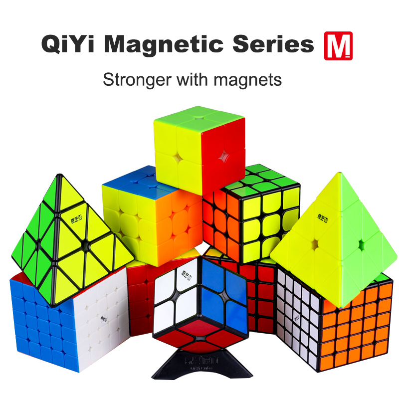 New Qiyi Magnetic Cube 2x2 3x3 4x4 5x5 Pyramid Stickerless Black Magic Cube QY Magnetic Cube Twisty Speed Cube Educational Toys