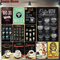 Домашний бар  кафе  винтажный Настенный декор  металлические оловянные вывески  ретро декоративная тарелка  кофейное меню  Постер A755