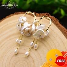 GLSEEVO Natural Fresh Water Baroque Pearl Boho Dangle Earrings For Women Party Gifts Wedding Long Tassel Earring Jewelry GE0545