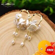 Glseevo Natuurlijke Zoetwater Barok Parel Boho Dangle Oorbellen Voor Vrouwen Party Geschenken Bruiloft Lange Tassel Earring Sieraden GE0545