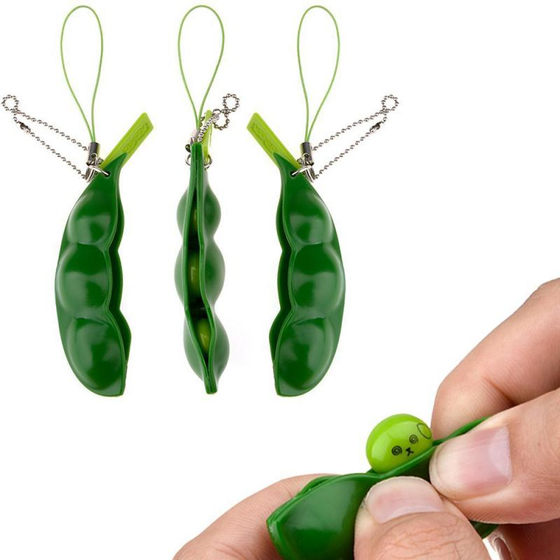 Hot Creative Extrusion Pea Bean Soybean Edamame Stress Relieve Toy Keychain Cute Fun Key Chain Ring Gift Bag Charms Trinket Toys