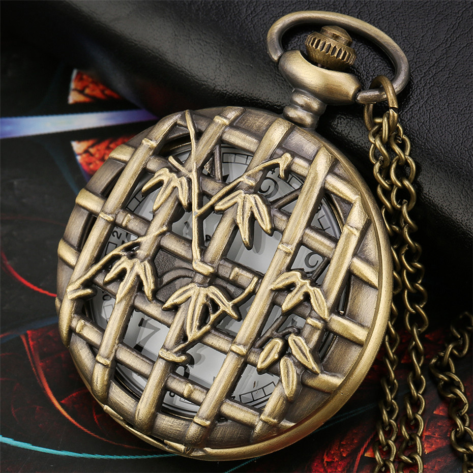 Bronze Hollow Bamboo Element Design Antique Quartz Pocket Watch Retro Pendant Necklace Clock Gifts Men Women With Chains
