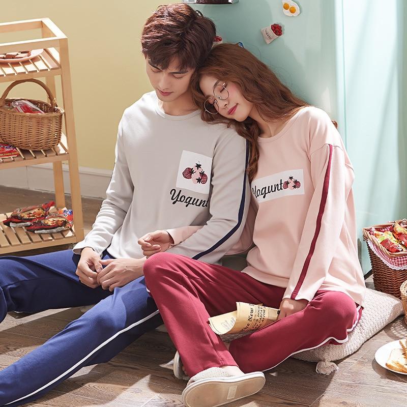 Wontive Casual High-quality Cotton Comfort Nightie Sleepwear Men Pyjamas Suit Autumn Couple Pajamas Long Plus Size Sleeve Pijama