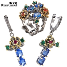 DreamCarnival 1989 New Arrived Flower Style Drop Earrings ring set  Blue Zirconia Anniversary Party Chic Jewelry Hot ER3877S2