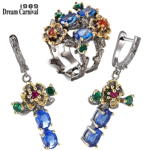 Image 1 - DreamCarnival 1989 New Arrived Flower Style Drop Earrings ring set  Blue Zirconia Anniversary Party Chic Jewelry Hot ER3877S2