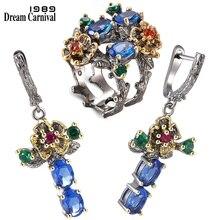 DreamCarnival 1989 nowa dostawa kwiatowy styl spadek kolczyki zestaw pierścieni niebieski cyrkon przyjęcie rocznicowe elegancka biżuteria Hot ER3877S2