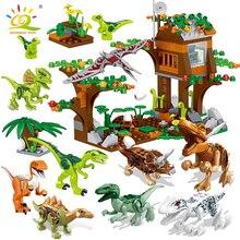 HUIQIBAO Jurassic Camp Cretaceous Tyrannosaurus Raptor Building Block Dinosaur World Park City Figures Bricks Set Children Toys