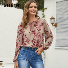 SHEIN Floral Print Tie Neck Casual Blouse Women Tops 2020 Spring Holiday Multicolor Long Sleeve Ladi