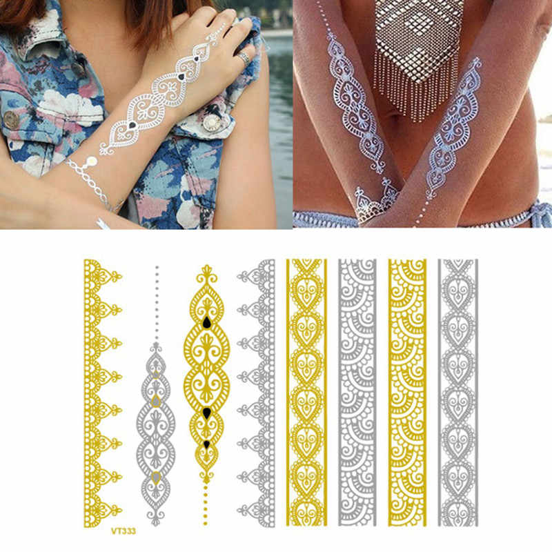 ATOMUS 1 ADET Çiçek Vücut Geçici Kına Dövmeler Metalik Altın ve Gümüş Bilezik Çıkartmalar Flaş Sanatı Dövme Etiket