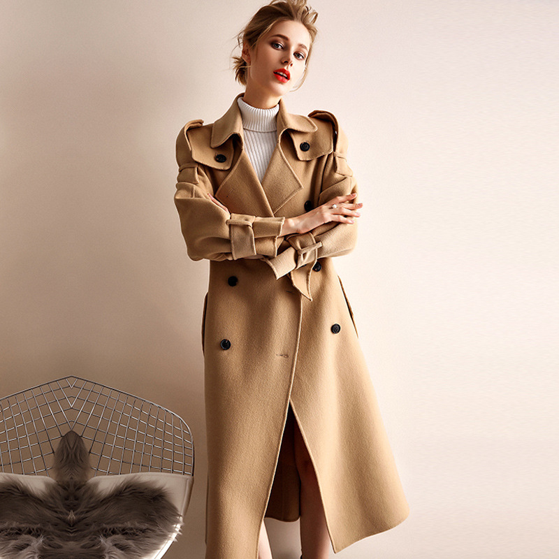 Abrigo de invierno de mujer estilo gabardina de camel de doble cara de lana de Cachemira prendas de vestir 2019 Otoño de talla grande abrigos para mujer largo envío gratis - 2