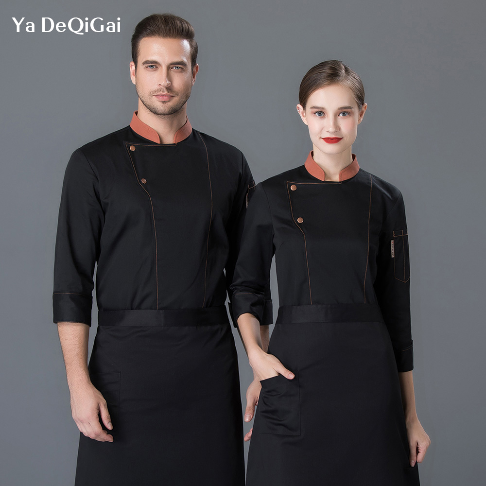 Restaurant Uniforms Shirts Coffee Shop Waiter Workwear Hotel Cooker Work Clothes Men Wholesale Food Service Chef Coat Unisex New