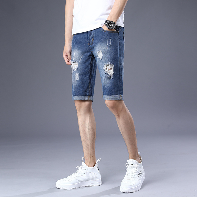 2019 Summer New Products MEN'S Denim Shorts Men With Holes Cool Trend Knee-length Denim Shorts 5 Pants Men's