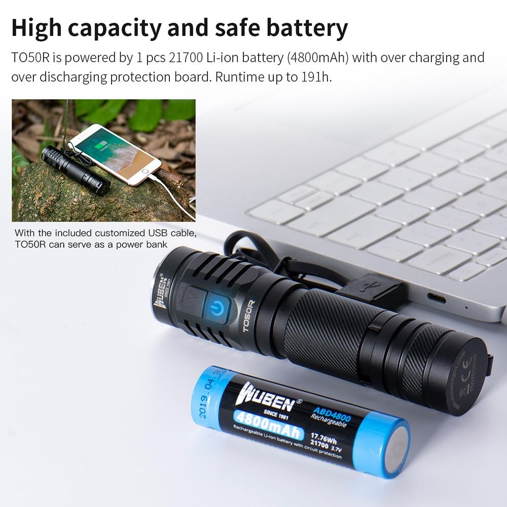 WUBEN TO50R Hohe CRI Taschenlampe 2800 Lumen USB Aufladbare IP68 Dual Seite Schalter LED Blitz Licht mit 21700 Batterie - 3