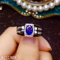 KJJEAXCMY boutique jewelry 925 sterling silver inlaid natural sapphire gemstone ring support detection popular